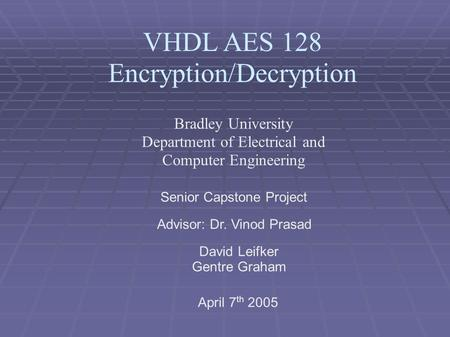 VHDL AES 128 Encryption/Decryption