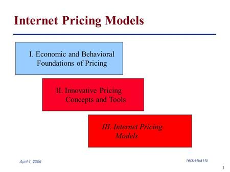 1 Teck-Hua Ho April 4, 2006 Internet Pricing Models I. Economic and Behavioral Foundations of Pricing II. Innovative Pricing Concepts and Tools III. Internet.