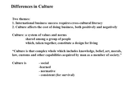 Differences in Culture Two themes: 1. International business success requires cross-cultural literacy 2. Culture affects the cost of doing business, both.