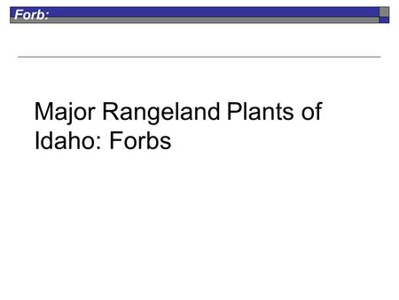 Forb: Major Rangeland Plants of Idaho: Forbs. Forb: Arrowleaf Balsamroot Perennial Native Fair for Grazers Fair for Browsers flowers are sunflower-like,