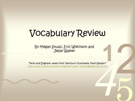 "Vocabulary Review Terms and Diagrams taken from ""Harcourt Multimedia Math Glossary"""