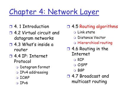 Chapter 4: Network Layer r 4. 1 Introduction r 4.2 Virtual circuit and datagram networks r 4.3 What's inside a router r 4.4 IP: Internet Protocol m Datagram.