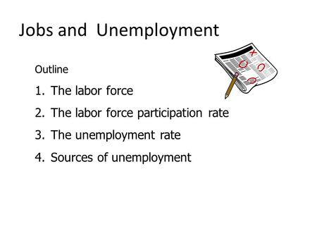 Jobs and Unemployment Outline 1.The labor force 2.The labor force participation rate 3.The unemployment rate 4.Sources of unemployment.
