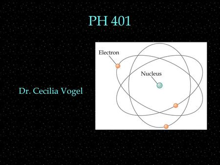 PH 401 Dr. Cecilia Vogel. Review Outline  Sx, Sy, Sz eigenstates  spinors, matrix representation  states and operators as matrices  multiplying them.