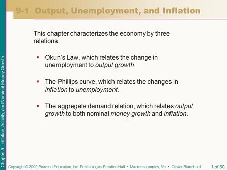 Chapter 9: Inflation, Activity, and Nominal Money Growth Copyright © 2009 Pearson Education, Inc. Publishing as Prentice Hall Macroeconomics, 5/e Olivier.
