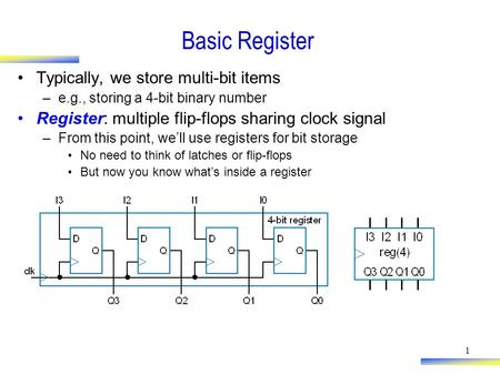 Basic Register Typically, we store multi-bit items