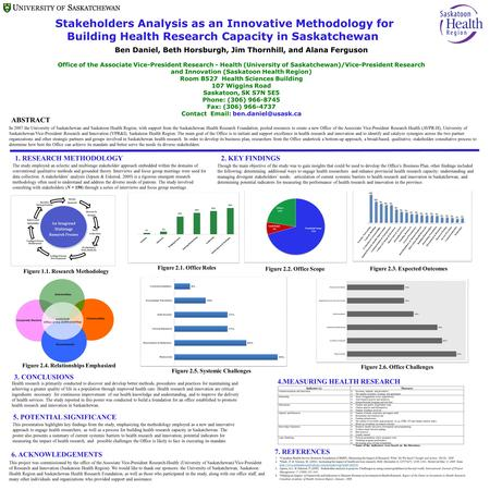 Stakeholders Analysis as an Innovative Methodology for Building Health Research Capacity in Saskatchewan Though the main objective of the study was to.