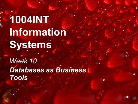 1004INT Information Systems Week 10 Databases as Business Tools.