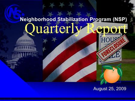 Neighborhood Stabilization Program (NSP) Quarterly Report August 25, 2009.