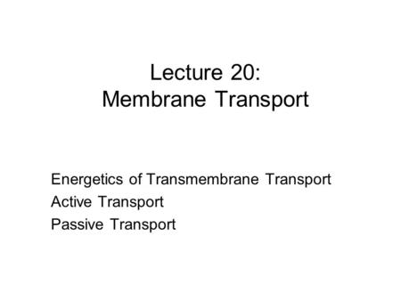 Lecture 20: Membrane Transport Energetics of Transmembrane Transport Active Transport Passive Transport.