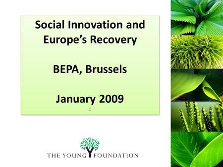Social Innovation and Europe's Recovery BEPA, Brussels January 2009 : Social Innovation and Europe's Recovery BEPA, Brussels January 2009 :