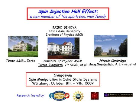 Spin Injection Hall Effect: a new member of the spintronic Hall family Symposium Spin Manipulation in Solid State Systems Würzburg, October 8th - 9th,