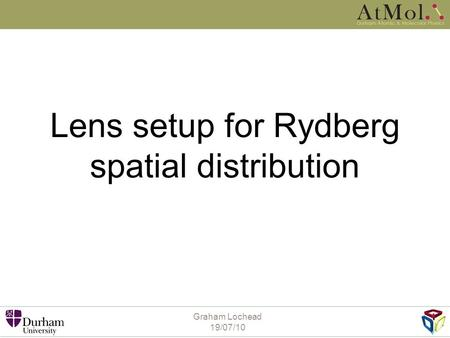 Graham Lochead 19/07/10 Lens setup for Rydberg spatial distribution.