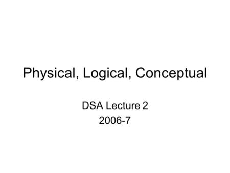Physical, Logical, Conceptual DSA Lecture 2 2006-7.