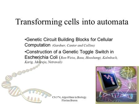 CS 374, Algorithms in Biology. Florian Buron Transforming cells into automata Genetic Circuit Building Blocks for Cellular Computation (Gardner, Cantor.