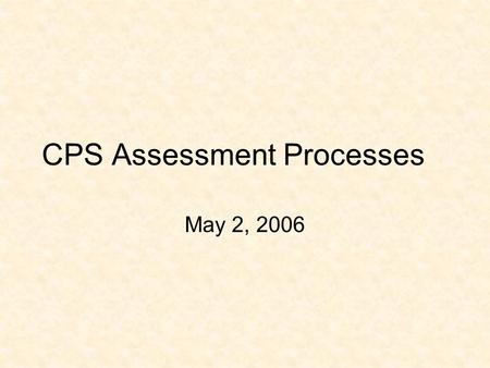 CPS Assessment Processes May 2, 2006. Learning Assessment in CPS Within the College of Professional Studies (CPS), student learning is assessed systematically.