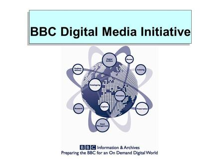 BBC Digital Media Initiative. DMI Background What is DMI? What is DMI? Pan BBC programme designed to prepare us for an on demand digital environment Pan.