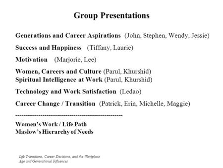 Group Presentations Life Transitions, Career Decisions, and the Workplace Age and Generational Influences Generations and Career Aspirations (John, Stephen,