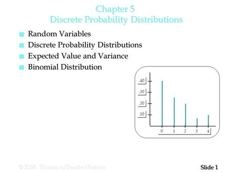 1 1 Slide © 2006 Thomson/South-Western Chapter 5 Discrete Probability Distributions.10.20.30.40 0 1 2 3 4 n Random Variables n Discrete Probability Distributions.