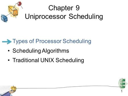 1 Chapter 9 Uniprocessor Scheduling Types of Processor Scheduling Scheduling Algorithms Traditional UNIX Scheduling.