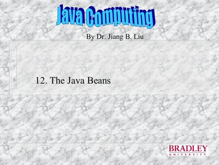 By Dr. Jiang B. Liu 12. The Java Beans. Java Beans n JavaBeans is a portable, platform-independent software component model written in Java. It enables.