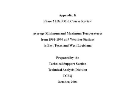 Appendix K Phase 2 HGB Mid Course Review Average Minimum and Maximum Temperatures from 1961-1990 at 9 Weather Stations in East Texas and West Louisiana.