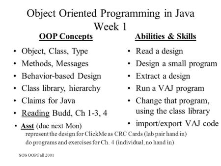 SOS OOP Fall 2001 Object Oriented Programming in Java Week 1 Read a design Design a small program Extract a design Run a VAJ program Change that program,