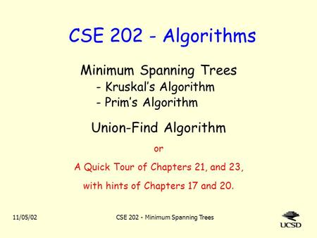 CSE Algorithms Minimum Spanning Trees Union-Find Algorithm