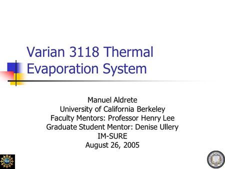 Varian 3118 Thermal Evaporation System