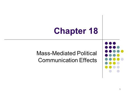 1 Chapter 18 Mass-Mediated Political Communication Effects.