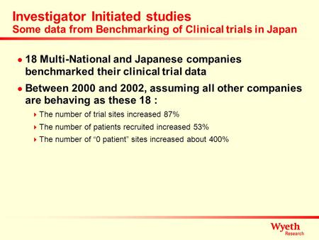 Investigator Initiated studies Some data from Benchmarking of Clinical trials in Japan 18 Multi-National and Japanese companies benchmarked their clinical.
