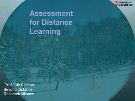 Prof Gilly Salmon Beyond Distance Research Alliance Assessment for Distance Learning.