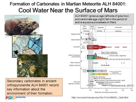 Formation of Carbonates in Martian Meteorite ALH 84001: Cool Water Near the Surface of Mars Secondary.