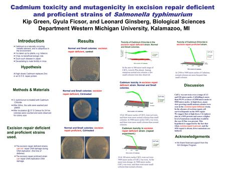 Cadmium toxicity and mutagenicity in excision repair deficient and proficient strains of Salmonella typhimurium Kip Green, Gyula Ficsor, and Leonard Ginsberg,