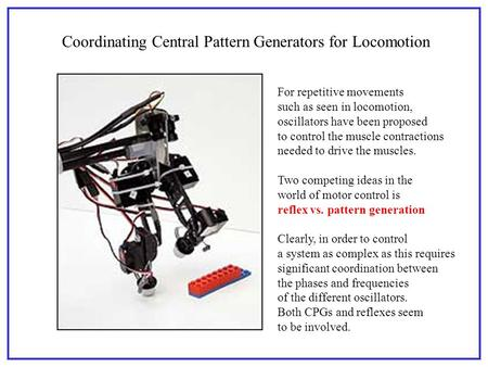 Coordinating Central Pattern Generators for Locomotion For repetitive movements such as seen in locomotion, oscillators have been proposed to control the.
