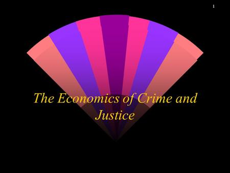 1 The Economics of Crime and Justice 2 Crime in California w Causality and Control w Corrections: Dynamics and Economics w Correctional Bureaucracy.