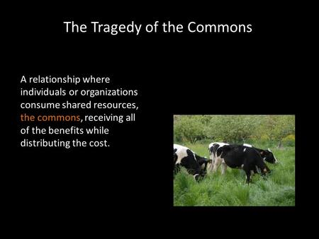 The Tragedy of the Commons A relationship where individuals or organizations consume shared resources, the commons, receiving all of the benefits while.