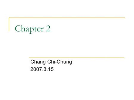 Chapter 2 Chang Chi-Chung 2007.3.15. Lexical Analyzer The tasks of the lexical analyzer:  Remove white space and comments  Encode constants as tokens.