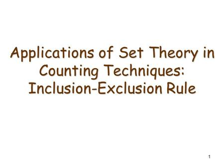 The Inclusion/Exclusion Rule for Two or Three Sets
