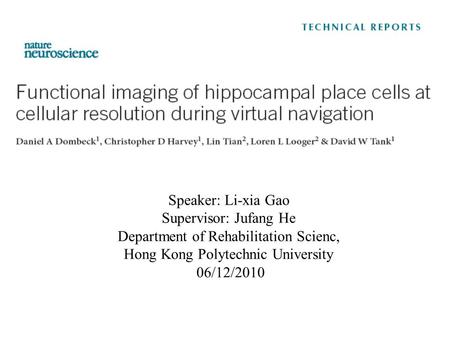 Speaker: Li-xia Gao Supervisor: Jufang He Department of Rehabilitation Scienc, Hong Kong Polytechnic University 06/12/2010.