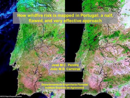 How wildfire risk is mapped in Portugal: a naïf, flawed, and very effective approach Departamento de Engenharia Florestal Instituto Superior de Agronomia.