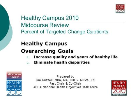 Healthy Campus 2010 Midcourse Review Percent of Targeted Change Quotients Healthy Campus Overarching Goals 1. Increase quality and years of healthy life.