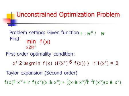Unconstrained Optimization Problem Problem setting: Given function Find Taylor expansion (Second order) First order optimality condition: