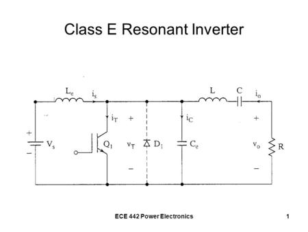 ECE 442 Power Electronics1 Class E Resonant Inverter.