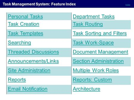 Index Task Management System: Feature Index Personal TasksDepartment Tasks Task CreationTask Routing Task TemplatesTask Sorting and Filters SearchingTask.