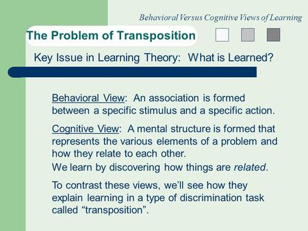 The Problem of Transposition Behavioral Versus Cognitive Views of Learning Key Issue in Learning Theory: What is Learned? Behavioral View: An association.