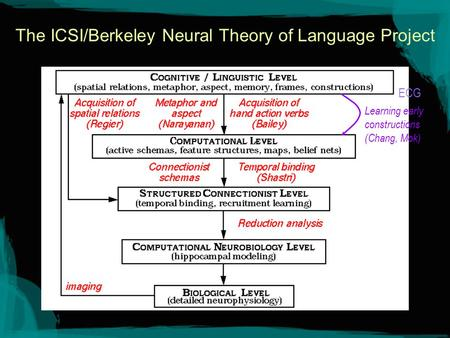 The ICSI/Berkeley Neural Theory of Language Project Learning early constructions (Chang, Mok) ECG.