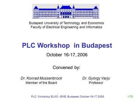 PLC Workshop in Budapest