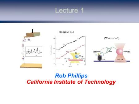 Lecture 1 Rob Phillips California Institute of Technology (Block et al.) (Wuite et al.)