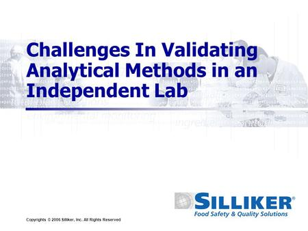 Copyrights © 2006 Silliker, Inc. All Rights Reserved Challenges In Validating Analytical Methods in an Independent Lab.